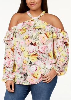 INC International Concepts I.n.c. Plus Size Cold-Shoulder Halter Blouse, Created for Macy's