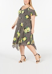 INC International Concepts Inc Plus Size Cold-Shoulder Midi Dress, Created for Macy's