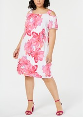 INC International Concepts I.n.c. Plus Size Cold-Shoulder Shift Dress, Created for Macy's