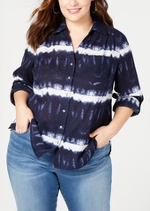 INC International Concepts Inc Plus Size Cotton Tie Dye Button-Up Shirt, Created for Macy's