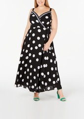 INC International Concepts I.n.c. Plus Size Dot-Print Surplice Maxi Dress, Created for Macy's