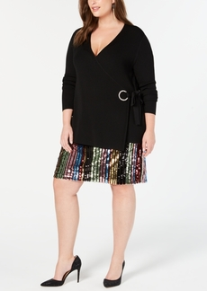INC International Concepts I.n.c. Plus Size Embellished Grommet Wrap Sweater, Created for Macy's