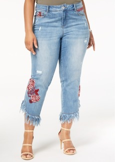 INC International Concepts I.n.c. Plus Size Embroidered Ripped Jeans, Created for Macy's
