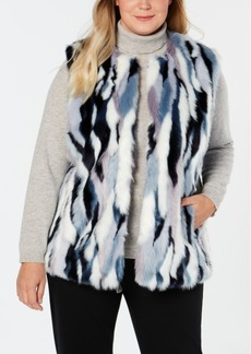 INC International Concepts I.n.c. Plus Size Faux-Fur Multicolored Vest, Created for Macy's