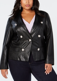 INC International Concepts I.n.c. Plus Size Faux-Leather Blazer, Created for Macy's