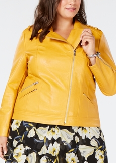 INC International Concepts I.n.c. Plus Size Faux-Leather Moto Jacket, Created for Macy's