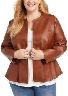 INC International Concepts Inc Plus Size Faux-Leather Peplum Jacket, Created For Macy's