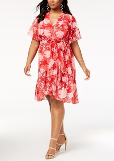 INC International Concepts I.n.c. Plus Size Faux-Wrap Kimono Dress, Created for Macy's
