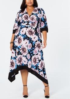 INC International Concepts I.n.c. Plus Size Floral-Print Handkerchief-Hem Dress, Created for Macy's