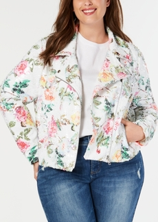 INC International Concepts I.n.c. Plus Size Floral-Print Sequin Moto Jacket, Created for Macy's