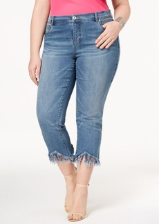 I.n.c. Plus Size Fringe-Hem Cropped Jeans, Created for Macy's