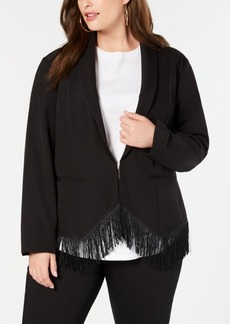 INC International Concepts I.n.c. Plus Size Fringe-Trim Blazer, Created for Macy's