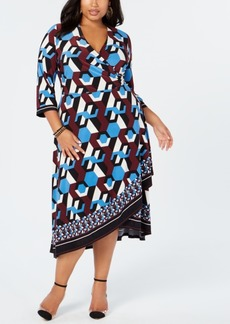 INC International Concepts I.n.c. Plus Size Geo-Print Faux-Wrap Dress, Created for Macy's