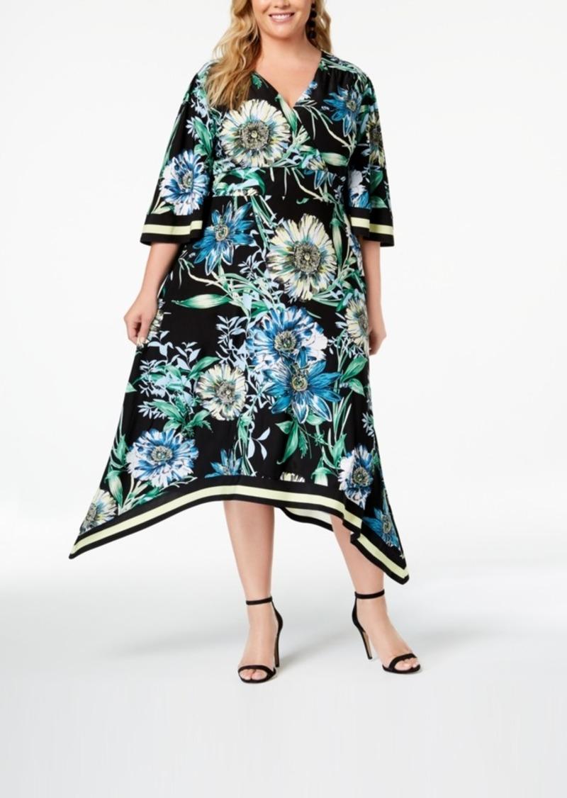 I.n.c. Plus Size Handkerchief-Hem Midi Dress, Created for Macy\'s