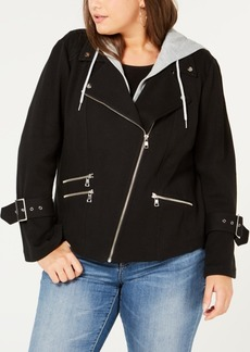 INC International Concepts I.n.c. Plus Size Hooded Moto Jacket, Created for Macy's
