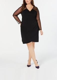 INC International Concepts I.n.c. Plus Size Illusion-Sleeve Sheath Dress, Created for Macy's