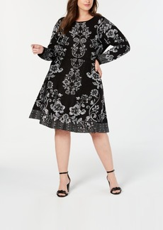 INC International Concepts I.n.c. Plus Size Jacquard Sweater Dress, Created for Macy's
