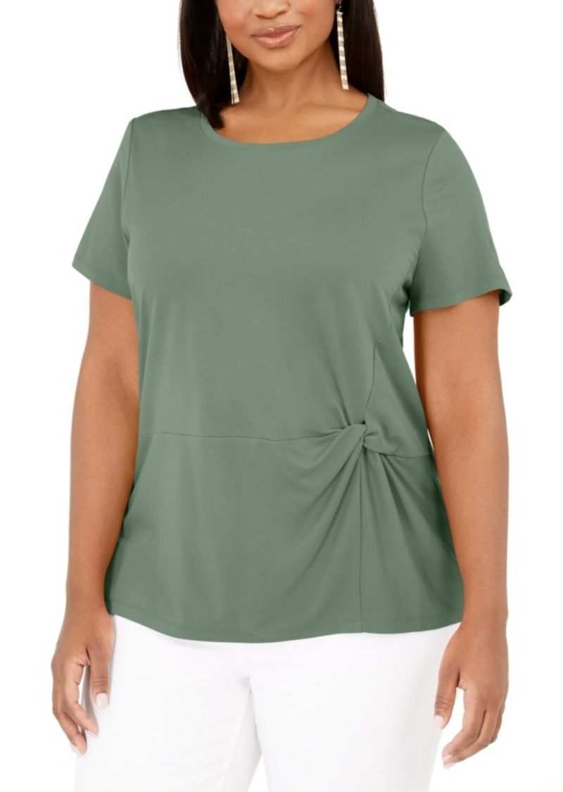 INC International Concepts Inc Plus Size Knot-Side T-Shirt, Created for Macy's
