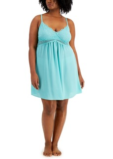 Inc International Concepts Plus Size Lace Chiffon Chemise Nightgown, Created for Macy's