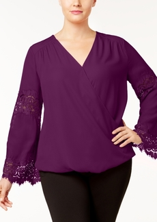INC International Concepts I.n.c. Plus Size Lace-Inset Surplice Blouse, Created for Macy's