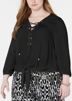 INC International Concepts I.n.c. Plus Size Lace-Up Tie-Front Top, Created for Macy's