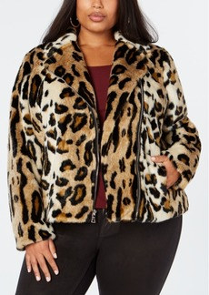 INC International Concepts I.n.c. Plus Size Leopard-Print Faux-Fur Moto Jacket, Created for Macy's