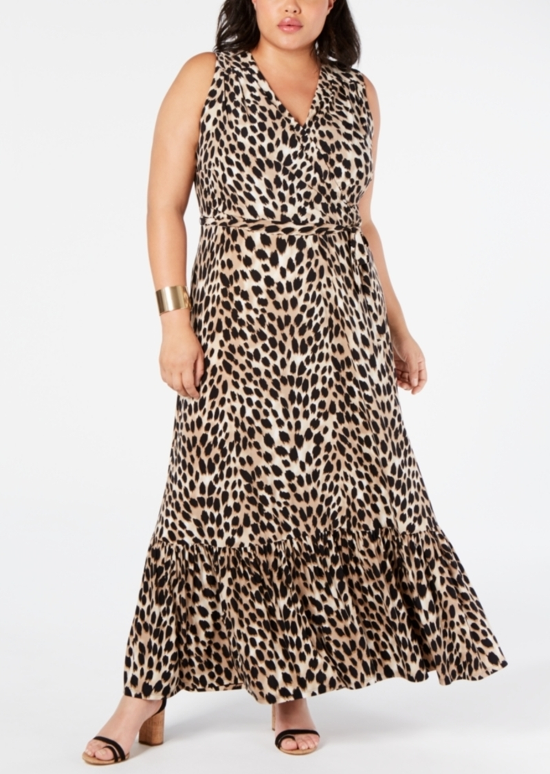 INC International Concepts I.n.c. Plus Size Leopard-Print Faux-Wrap Maxi Dress, Created for Macy's