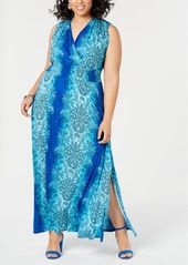 INC International Concepts I.n.c. Plus Size Medallion-Print Smocked Maxi Dress, Created for Macy's