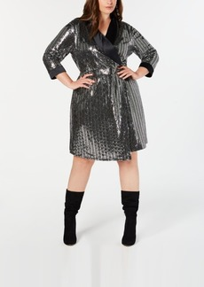 INC International Concepts I.n.c. Plus Size Mirror-Ball Blazer Mini Dress, Created for Macy's