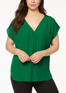 INC International Concepts Inc Plus Size Mixed-Media Dolman-Sleeve Top, Created for Macy's
