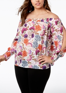 INC International Concepts I.n.c. Plus Size Off-The-Shoulder Blouse, Created for Macy's
