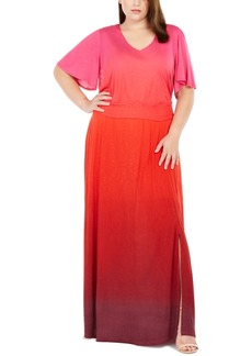 INC International Concepts Inc Plus Size Ombre Flutter-Sleeve Maxi Dress, Created For Macy's