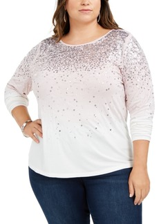 INC International Concepts Inc Plus Size Ombre Sequined Top, Created for Macy's