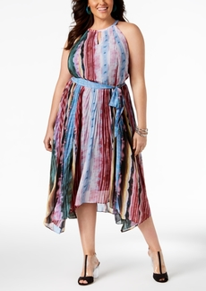 INC International Concepts I.n.c. Plus Size Pleated Midi Dress, Created for Macy's