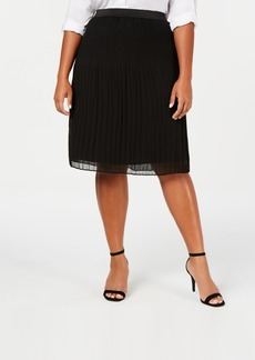 INC International Concepts Inc Plus Size Pleated Midi Skirt, Created for Macy's