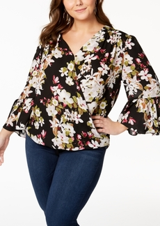 INC International Concepts I.n.c. Plus Size Printed Blouse, Created for Macy's