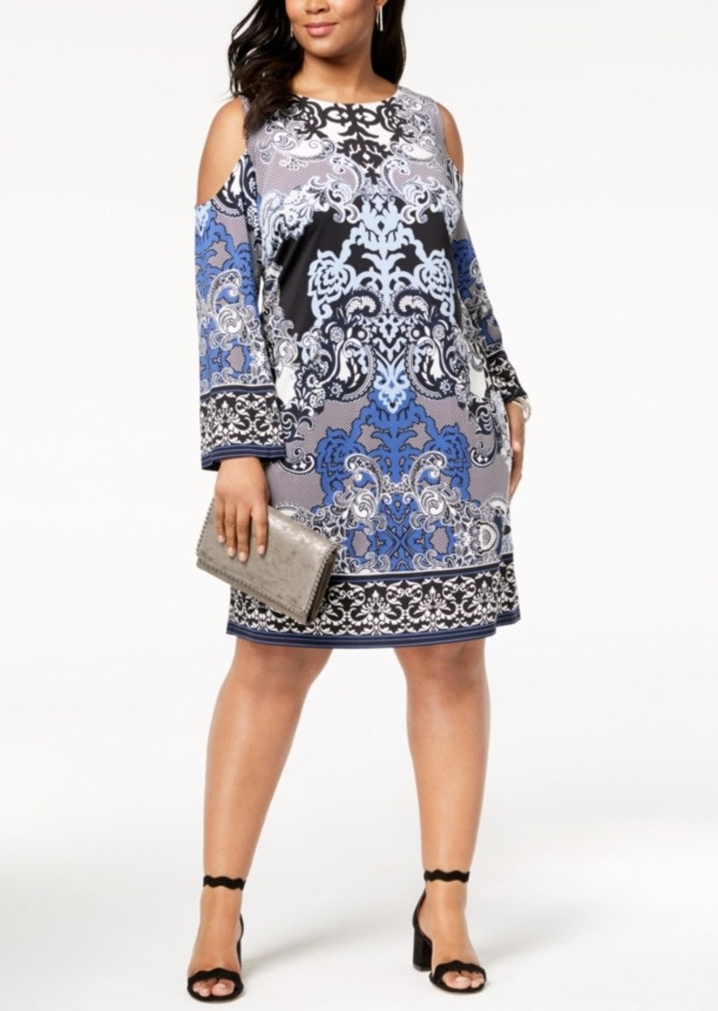 INC International Concepts I.n.c. Plus Size Printed Cold-Shoulder Dress,  Created for Macy\'s Now $44.75