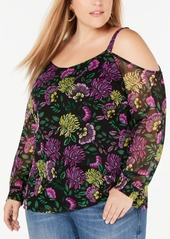 INC International Concepts I.n.c. Plus Size Printed Cold-Shoulder Top, Created for Macy's