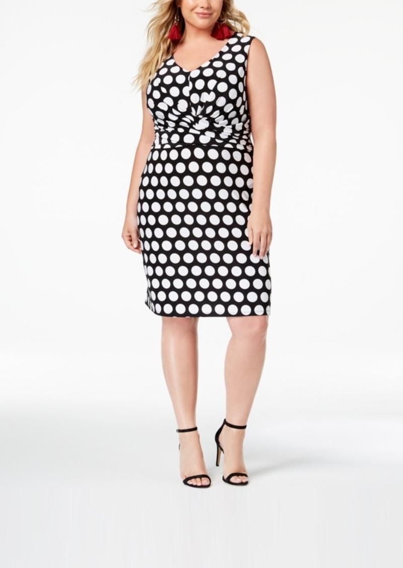 I.n.c. Plus Size Printed Faux-Wrap Sheath Dress, Created for Macy\'s