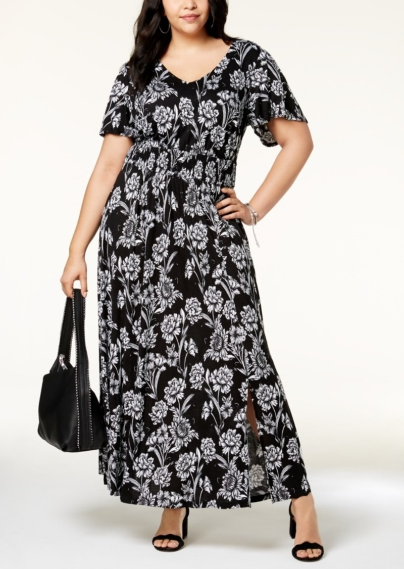 I.n.c. Plus Size Printed Flutter-Sleeve Maxi Dress, Created for Macy\'s
