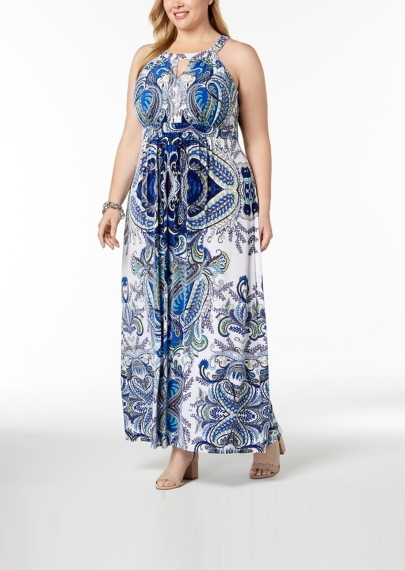 I.n.c. Plus Size Printed Halter Maxi Dress, Created for Macy\'s