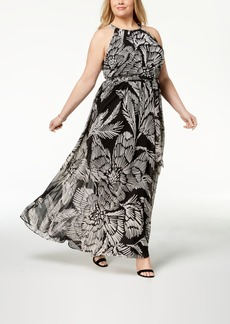 INC International Concepts I.n.c. Plus Size Printed Halter Maxi Dress, Created for Macy's