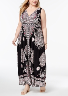 INC International Concepts I.n.c. Plus Size Printed Surplice-Neck Maxi Dress, Created for Macy's