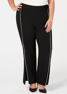 INC International Concepts I.n.c. Plus Size Rhinestone-Trim Crepe Wide-Leg Pants, Created for Macy's