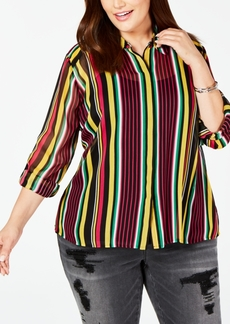 INC International Concepts Inc Plus Size Roll-Tab Button-Up Top, Created for Macy's