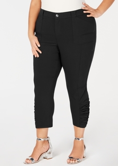 INC International Concepts I.n.c. Plus Size Ruched-Hem Cropped Pants, Created for Macy's