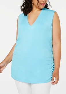 INC International Concepts Inc Plus Size Ruched V-Neck Tank, Created for Macy's