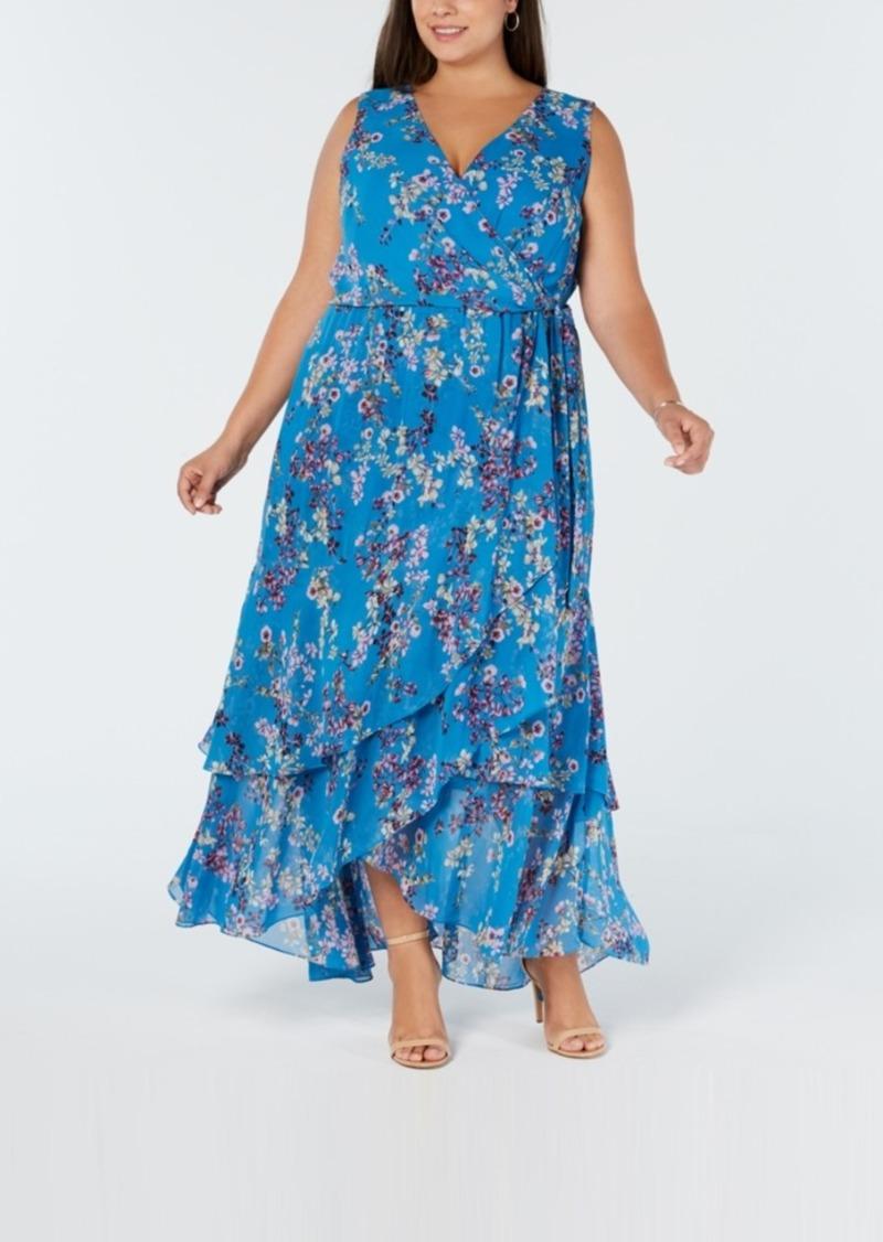 I.n.c. Plus Size Ruffle-Trim Wrap Maxi Dress, Created for Macy\'s
