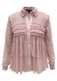 INC International Concepts Inc Plus Size Ruffled Sheer Top, Created for Macy's