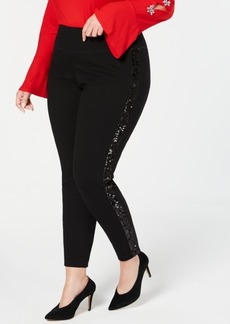 INC International Concepts I.n.c. Plus Size Sequin-Varsity-Stripe Ponte-Knit Pants, Created for Macy's